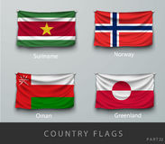Riveted the country's flag wrinkled with shadows and screw Royalty Free Stock Photos