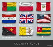 Riveted the country's flag wrinkled with shadows and screw Royalty Free Stock Images