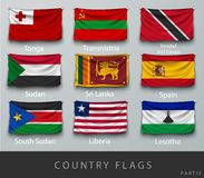 Riveted the country's flag wrinkled with shadows Stock Images