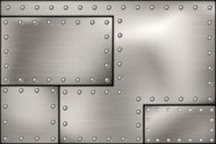 Riveted steel rivets and screws metal Royalty Free Stock Images
