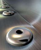 Rivets On Brushed Metal Perspective Stock Photos