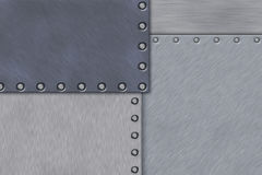 Rivets in brushed steel Royalty Free Stock Image