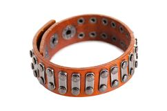 Rivets en cuir de bracelet Photo stock