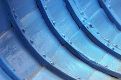 Rivets on interior of wooden boat Royalty Free Stock Photography