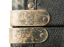 Rivets and leather parts from suitcase Royalty Free Stock Photography