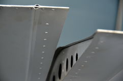 Rivets onthe ving of militar plane Royalty Free Stock Photos