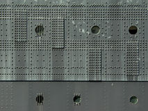 Rivets and Port Holes On the Steel Hull of a Ship Stock Images