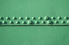 Rivets on a ship. Green detail of a ship in Hamburg harbour Stock Photo