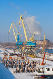 Rivew port in winter Stock Photos