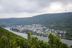 Rivière allemande célèbre Winningen de la Moselle de région de vin photo libre de droits