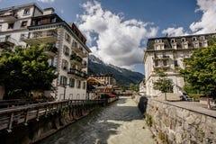Rivière Arve à Chamonix-Mont-Blanc photo libre de droits