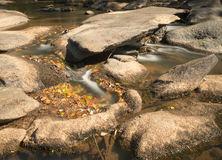 Rivière avec des roches et de petites cascades Images stock