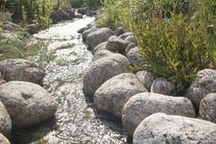 Rivière avec les pierres arrondies et le soleil léger réfléchissant sur l'eau Photographie stock libre de droits