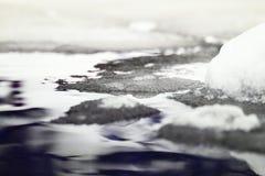 Rivière congelée de glace Images libres de droits