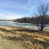 Rivière congelée de ressort Image stock