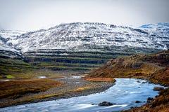 Rivière débordante le long du paysage en Islande Image stock