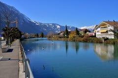 Rivière d'Aare d'Interlaken Photos libres de droits