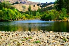 Rivière d'Américain de sécheresse de la Californie Photo libre de droits
