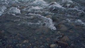 Rivière d'eau peu profonde avec Grey Pebbles On The Riverbed courant au-dessus de la longueur haute étroite de roches clips vidéos