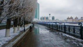 Rivière d'Ishim dans le matin d'hiver Images stock