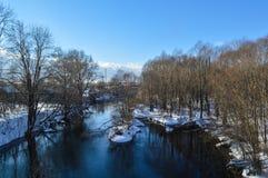Rivière d'Izh en hiver Photo libre de droits