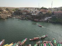 Rivière d'Omkareshwar Narmada image libre de droits