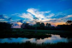 Rivière dans le marais au coucher du soleil Photos libres de droits