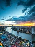 Rivière de Chaophraya, Bangkok Images libres de droits