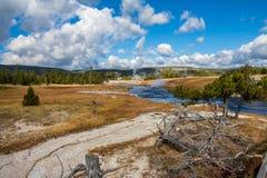 Rivière de Firehole en bassin supérieur de geyser images stock