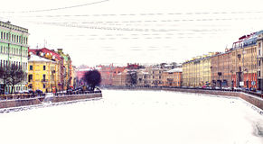 Rivière de Fontanka à l'hiver Image stock