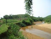 Rivière de frontière de Bangladesh-Inde Photographie stock libre de droits
