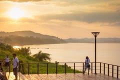 Rivière de Khong, la frontière de thaïlandais-Loas Photographie stock libre de droits