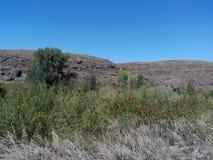 Rivière de Kumachka près du shoreBeach envahi avec des collines Images libres de droits