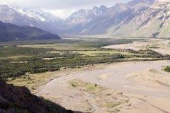 Rivière de De las Vueltas au parc national de visibilité directe Glaciares, Argentine photos libres de droits