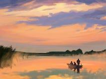 Rivière de lever de soleil Images libres de droits