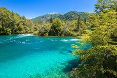 Rivière de Menendez, parc national de visibilité directe Alerces dans le Patagonia, Argentine photographie stock