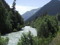 Rivière de montagne pendant l'été photo stock