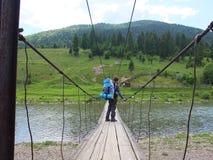 rivière de montagne sur la traînée de touristes Photos libres de droits