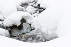 Rivière de mountine de neige - photo courante Image stock