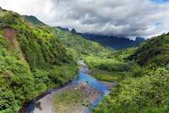 Rivière de nature et de montagne de Tahiti.Tropical contre le ciel nuageux Photo libre de droits