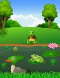 Rivière de paysage avec l'animal Images libres de droits