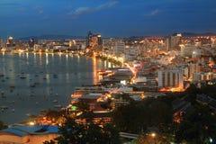 Rivière de paysage et de point de repère et ville Thaïlande de Pattaya Photographie stock libre de droits