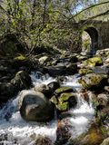 Rivière de Pelayos en Espagne, avec un pont image libre de droits