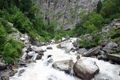 Rivière de Pushpawati dans la vallée du parc national de fleurs, Uttarkhand, Inde Images libres de droits