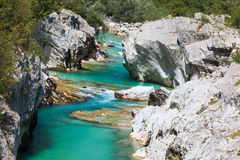 Rivière de Soca, Slovénie Photographie stock libre de droits