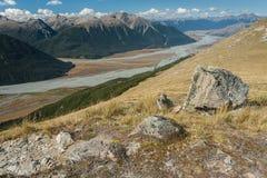 Rivière de Waimakariri dans les Alpes du sud Images libres de droits