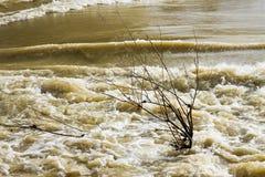 Rivière en inondation après plusieurs jours de pluie Image libre de droits