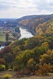 Rivière et forêt en automne octobre Cadre vertical Images libres de droits