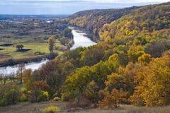 Rivière et forêt en automne octobre l'ukraine Image stock