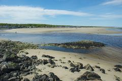 Rivière et plage d'Ogunquit dans Ogunquit, JE, Etats-Unis Photo stock